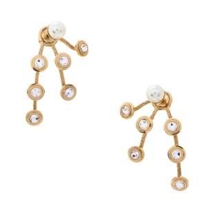 Dior Mise En Dior Faux Pearl Crystal Gold Tone Earrings