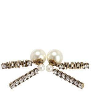Dior Yellow Gold Tone Jadior Faux Pearl Earrings