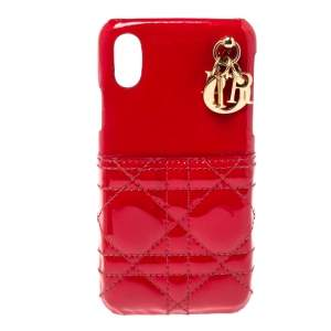 Dior Red Cannage Patent Leather Lady Dior Iphone X/XS Case