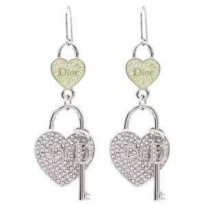Dior Heart lock & Key Drop Motif Crystal Silver Tone Hook Earrings