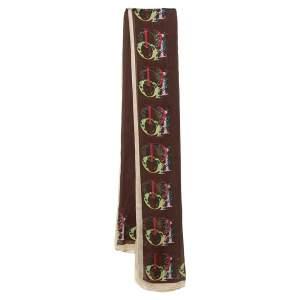 Dior Brown Silk Oblique Border Print Scarf