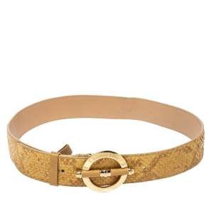 Dior Beige Python Leather Bamboo Detain Buckle Belt 80CM