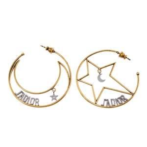 Dior J'Adior Moon & Star Asymmetrical Hoop Earrings