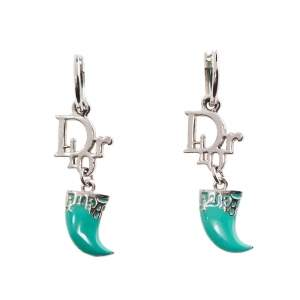 Dior Green Enamel Tooth Loop Earrings