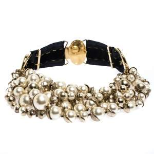 Dior Mise en Dior Faux Pearl Gold Tone Statement Necklace