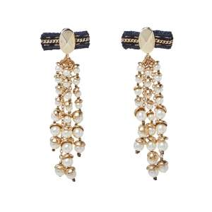 Dior Faux Pearl Gold Tone Long Drop Earrings