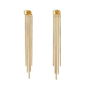 Dior CD Gold Tone Chain Tassel Earrings