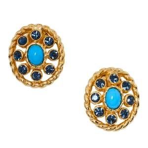 Dior Vintage Blue Crystal & Bead Embellished Oval Clip-On Earrings