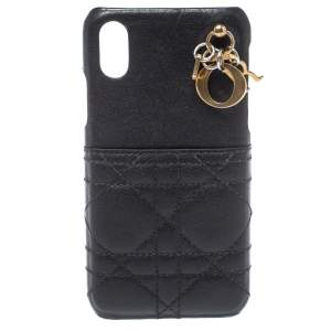 Dior Black Cannage Leather Lady Dior Iphone X Case