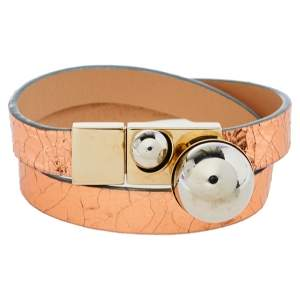 Dior Metallic Copper Leather Mise En Dior Double Wrap Bracelet S