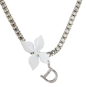 Dior White Flower Charm Crystal Choker Necklace