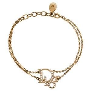 Dior Gold Tone Crystal Logo Double Chain Bracelet