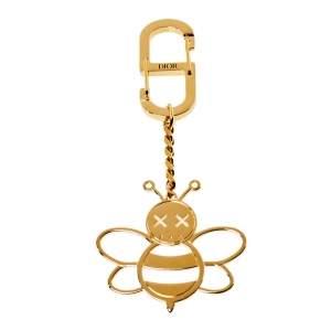 Dior x Kaws Gold Tone Bee Charm Keychain