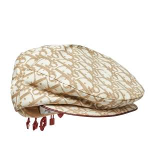 Dior Beige Cotton Trotter Charms Diorissimo Paper Boy Beret Hat