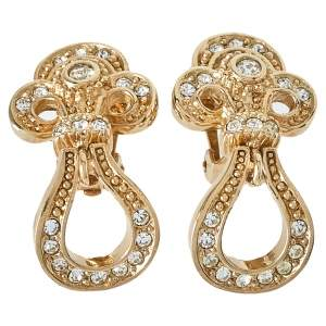 Dior Vintage Crystal Studded Gold Tone Dangle Clip-On Earrings
