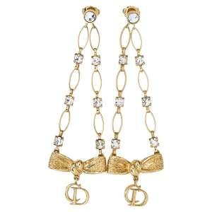 Dior Gold Tone Crystal CD Bow Charm Dangle Earrings