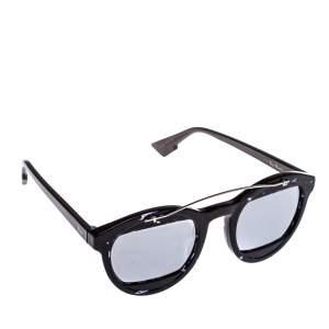 نظارة شمسية ديور مانيا 1 AB8DC فضية/سوداء مستديرة