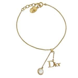 Dior Gold Tone Crystal & Logo Charm Bracelet