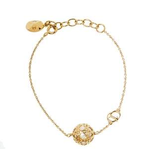 Dior Secret Cannage Faux Pearl Gold Tone Bracelet