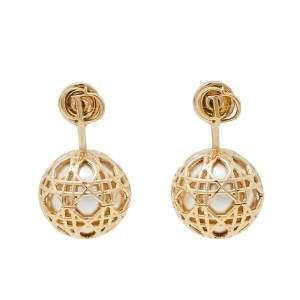 Dior Faux Pearl Secret Cannage Drop Earrings