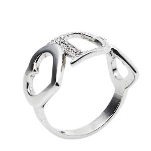 Dior Silver Tone Crystal Heart Charm Ring Size EU 54.5