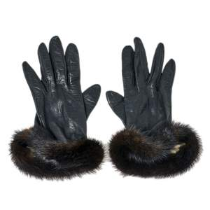 Dior Black Leather and Mink Fur Gloves