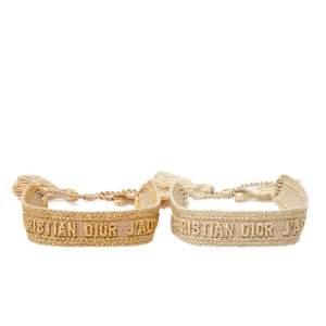 Christian Dior J'Adior Metallic Embroidered Canvas Friendship Bracelet Set of 2
