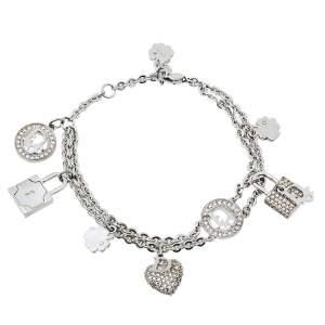 Dior Vintage Crystal Padlocks & Heart Charms Double Strand Bracelet