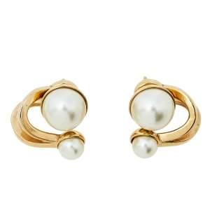 Dior UltraDior Gold Tone Faux Pearl Earrings