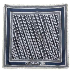 Dior Navy Blue & Beige Oblique Square Silk Scarf