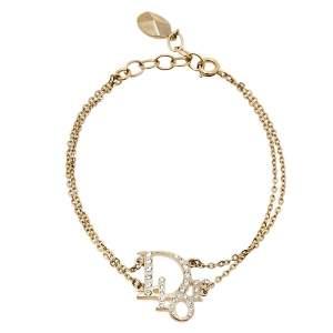 Dior Oblique Crystal Gold Tone Bracelet