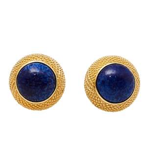 Christian Dior Gold Tone Blue Resin Round Clip On Stud Earrings