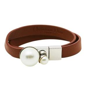 Dior Silver Tone Brown Leather & Faux Pearl Mise en Dior Wrap Bracelet
