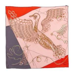 Dior Pink & Orange Bird Logo Charm Silk Square Scarf