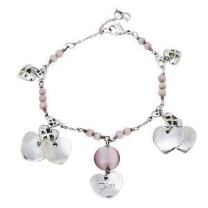 Dior Silver Tone Heart Charm Beaded Bracelet