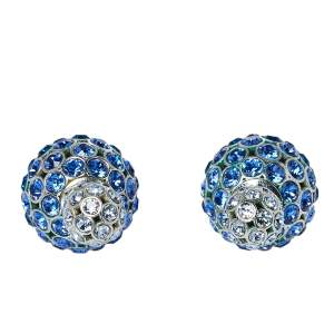 Dior Tribales Blue Ombre Crystal Embellished Stud Earrings