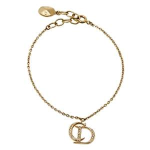 Dior CD Logo Charm Crystal Gold Tone Bracelet