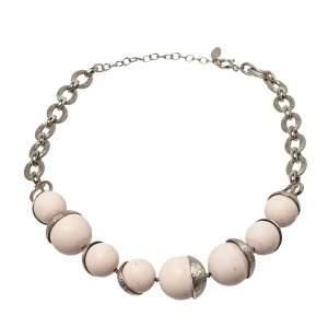 Dior Mise En Dior Powder Pink Beads Silver Tone Necklace