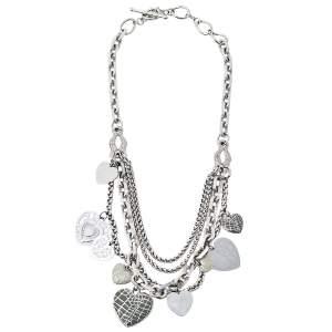 Dior Silver Tone Multi Strand Heart Charm Necklace