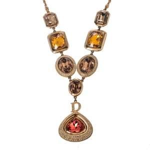 Dior Gold Tone Crystal Bejeweled Pendant Necklace