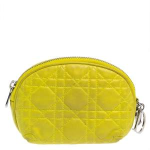 Dior Yellow Cannage Leather Lady Dior Cosmetic Pouch