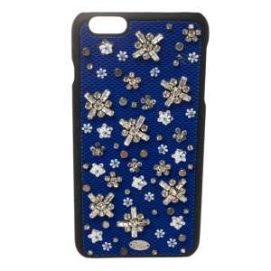 Dior Blue Fabric Stardust Crystal Embellished iPhone 6 Plus Case