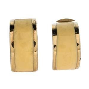 Dior Vintage Cream Enamel Gold Tone Clip-On Earrings