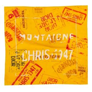 Dior Yellow Graffiti Print Cotton Scarf