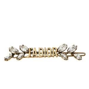 Dior J'adior Aged Gold Tone Crystal Laurier Barrette