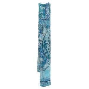 Dior Pale Blue Geometric Floral Print Silk Crepe Stole