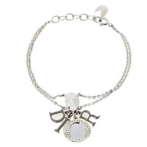 Dior Grey Enamel Crystal Silver Tone Letter Charm Bracelet