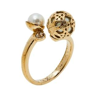 Dior Secret Cannage Faux Pearl Crystal Gold Tone Open Ring Size 56