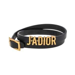 Dior J'adior Black Leather Antique Gold Tone Double Tour Bracelet