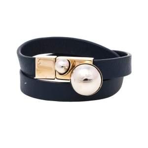 Christian Dior Blue Leather Mise En Dior Double Wrap Bracelet M